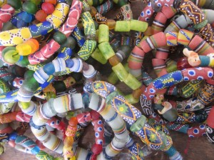 Bead bracelets.
